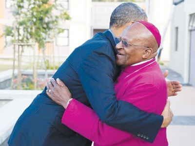 President Barack Obama greets Archbishop  Desmond Tutu in  Cape Town, South Africa,  June 30, 2013.  Official White House   photo by Pete Souza