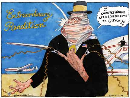 US torture flights in Shannon, Ireland and elsewhere, cartoon by Steve Bell