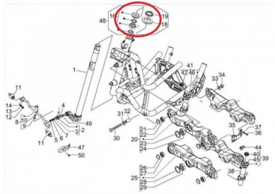 Kit roulement de direction scooter Piaggio 125 MP3 6019175