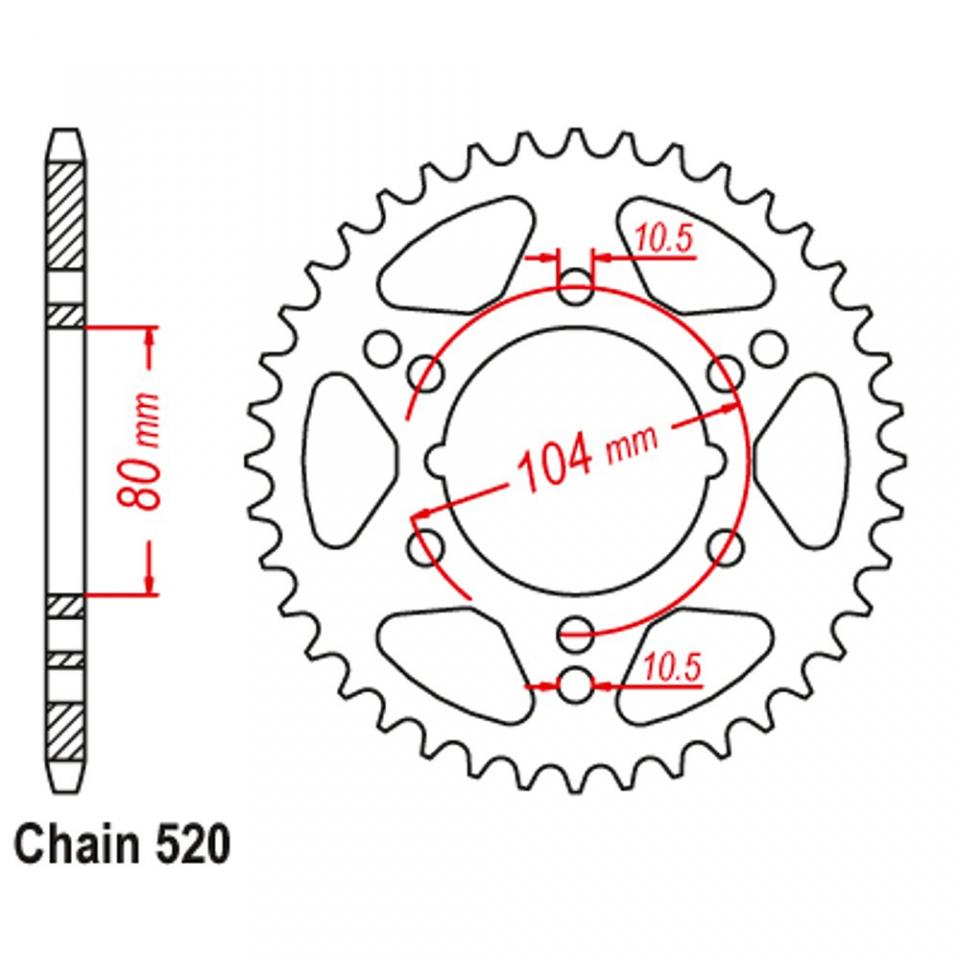 Corona transmisión acero 42 dientes paso 520 moto Kawasaki