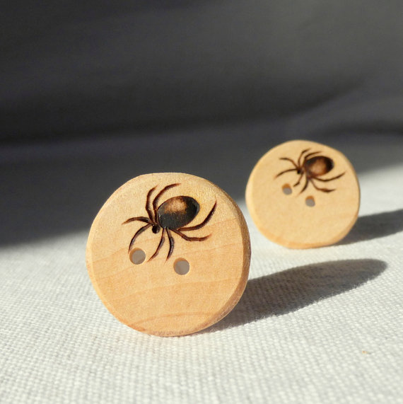 Pyrography buttons by Wooden Heart Buttons
