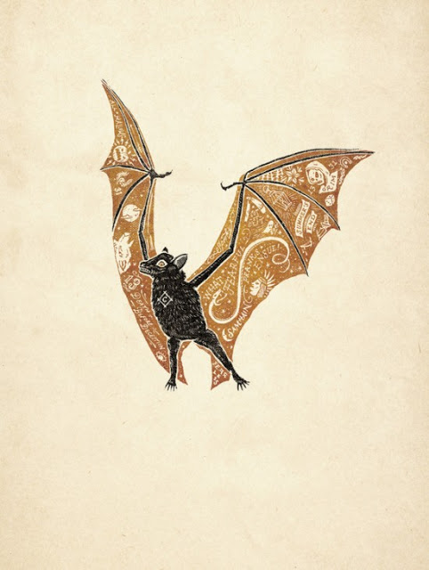Lovely bat art collected at the Animalarium
