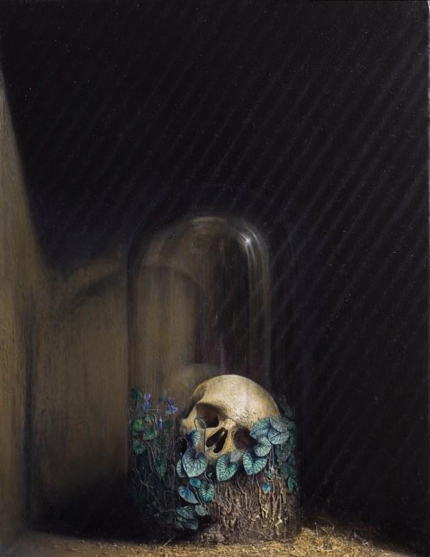 Agostino Arrivabene elogio della plvere 2013. oil, human ashes , on wood cm 57,5 x 75,5