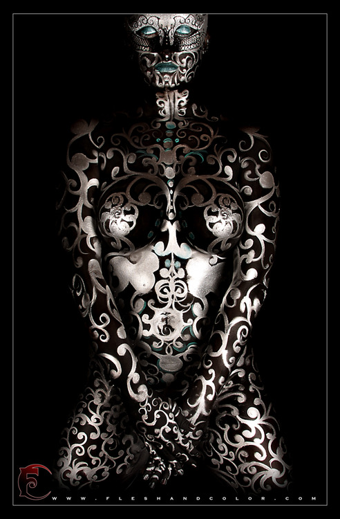 Flesh and Color. Body painting and other interesting bits. Via Church of Halloween