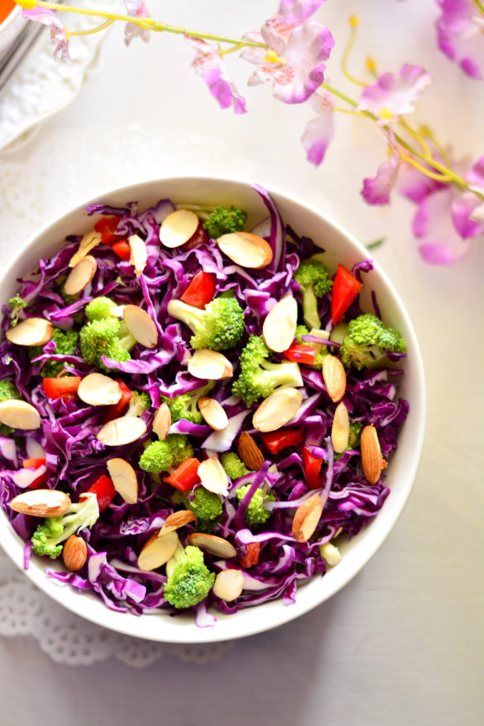 Purple Cabbage & Broccoli Salad with Miso Orange & Almond Dressing