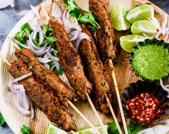 Stove top mutton seekh kebab wrap