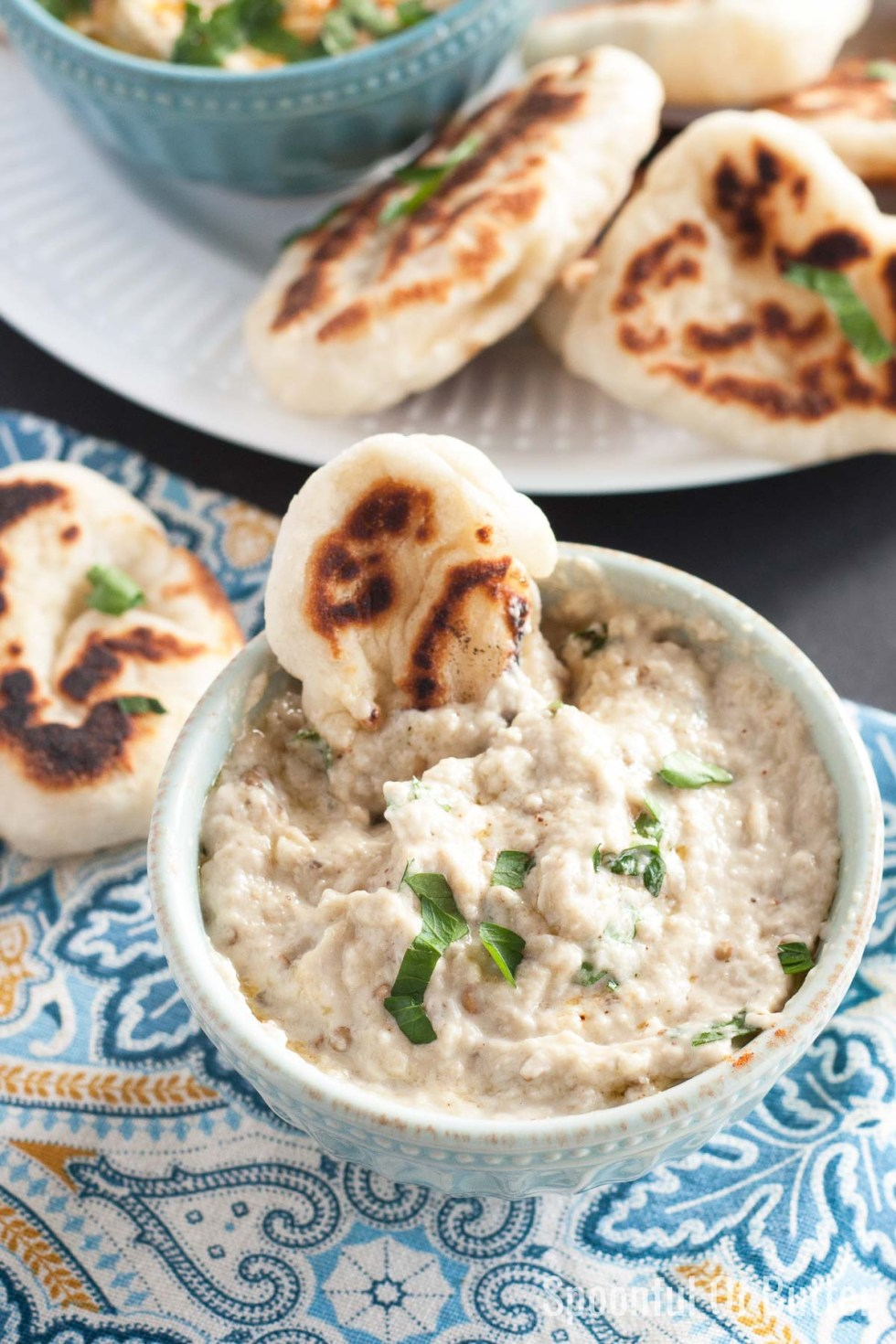 Rich, smoky, and creamy baba ganoush using 6 ingredients and no grill or gas stove required! This amazing roasted eggplant dip is a a great make-ahead dish as it tastes even better after a day or two in the fridge.