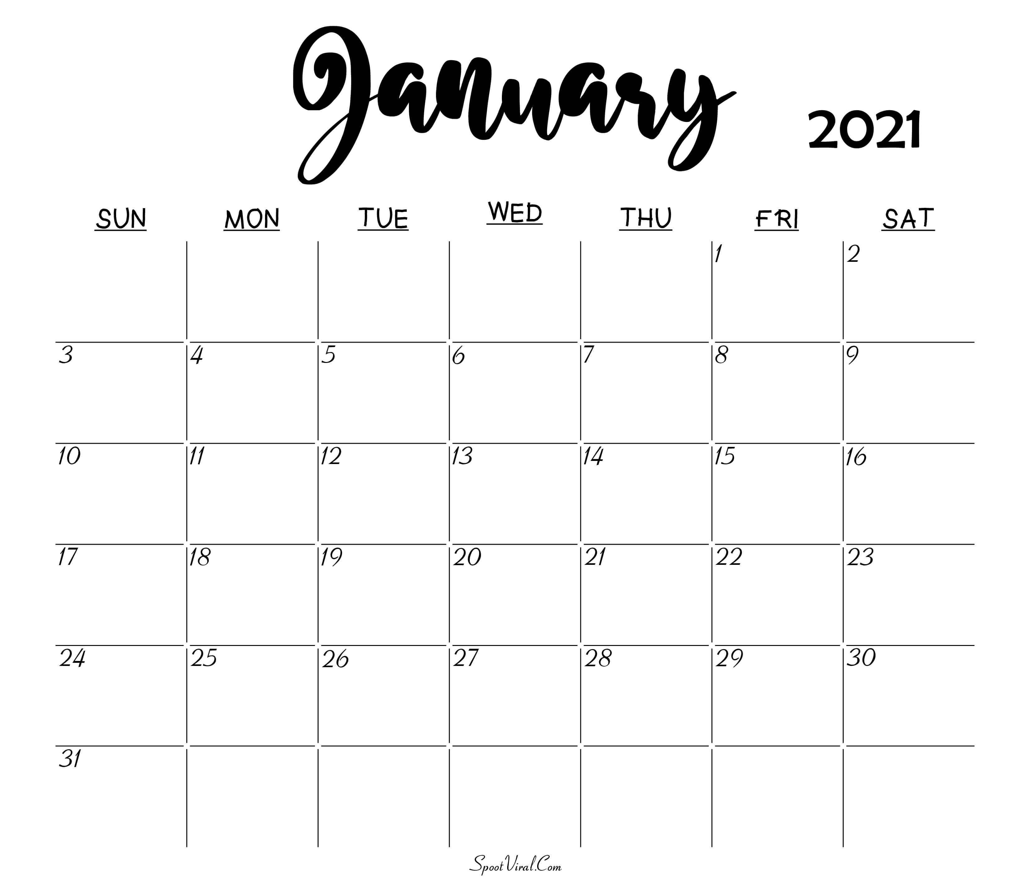 January 2021 Calendar Printable Free Monthly / January ...