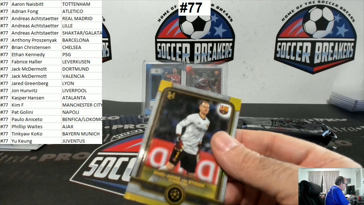 2019-20 Topps Museum Collection UEFA Champions League Soccer 4 Box PYT Break #77 SOCCER BREAKERS FC