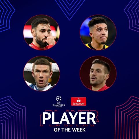 Who is your  Player of the Week?    Bruno Fernandes   Jadon Sancho   Robin Gosen...