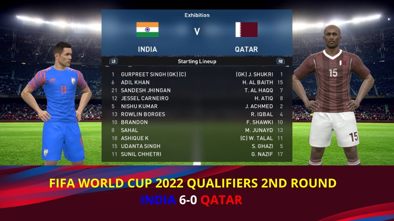 INDIA VS QATAR  FIFA WORLD CUP 2022 QUALIFIERS 2ND ROUND  #pes2017 #indiapatch #indiavsqatar