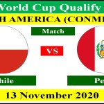 Chile vs Peru on 13 November 2020 in FIFA World Cup 2022 Qualifying Round South America.