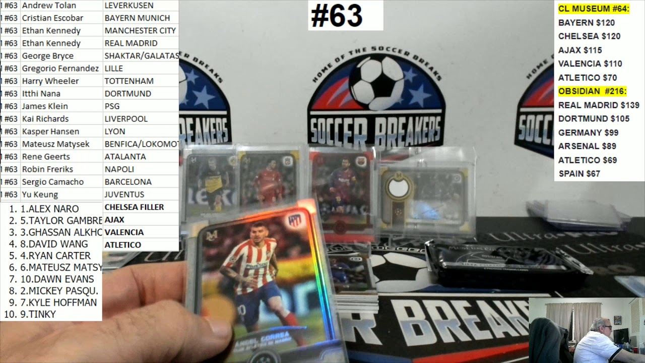 2019-20 Topps Museum Collection UEFA Champions League Soccer 4 Box PYT Break #63 SOCCER BREAKERS FC