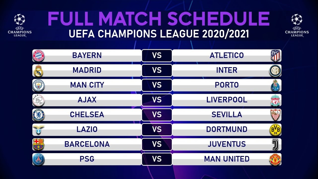 MATCH SCHEDULE UEFA CHAMPIONS LEAGUE 2020/2021 | GROUP STAGE