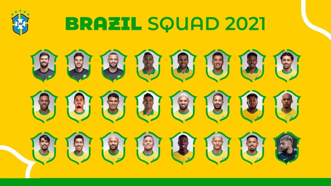 BRAZIL FULL SQUAD 2021 for FIFA WORLD CUP 2022 - CONMEBOL QUALIFIERS