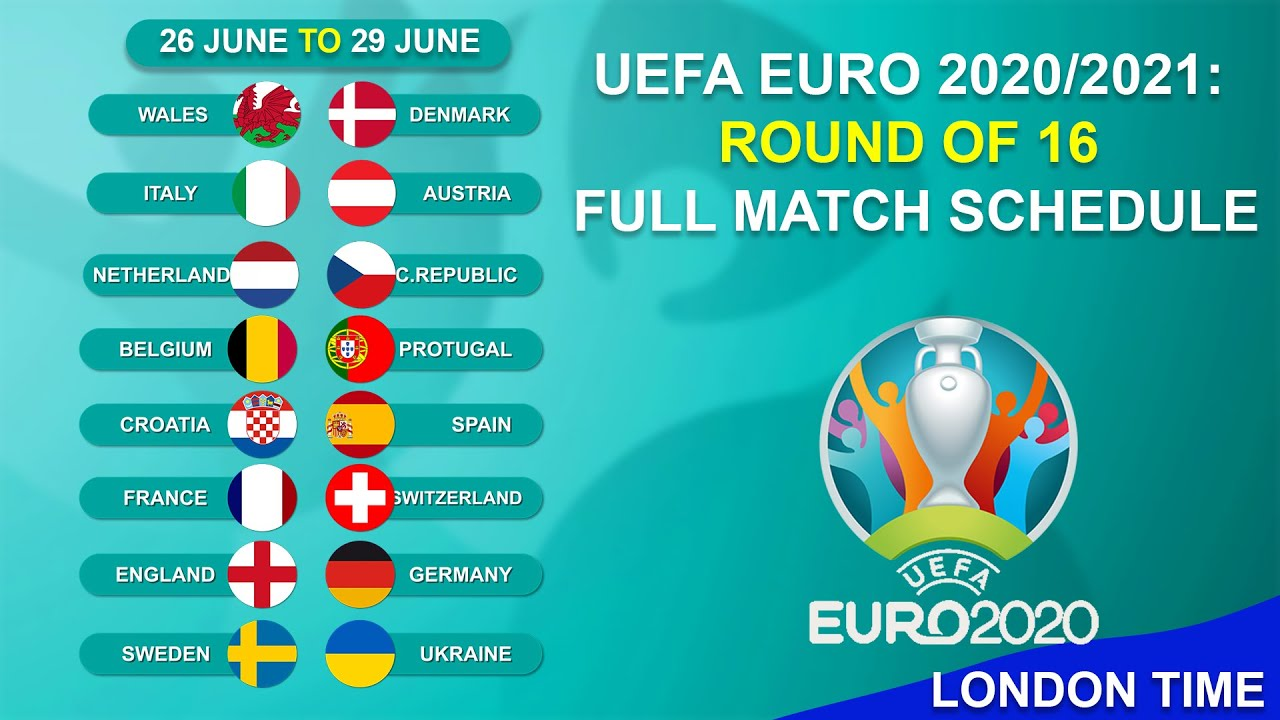 UEFA Euro 2020/2021: Round of 16 Full Match Schedule   Fixtures 2021   LONDON TIME   Abijeet Dulal