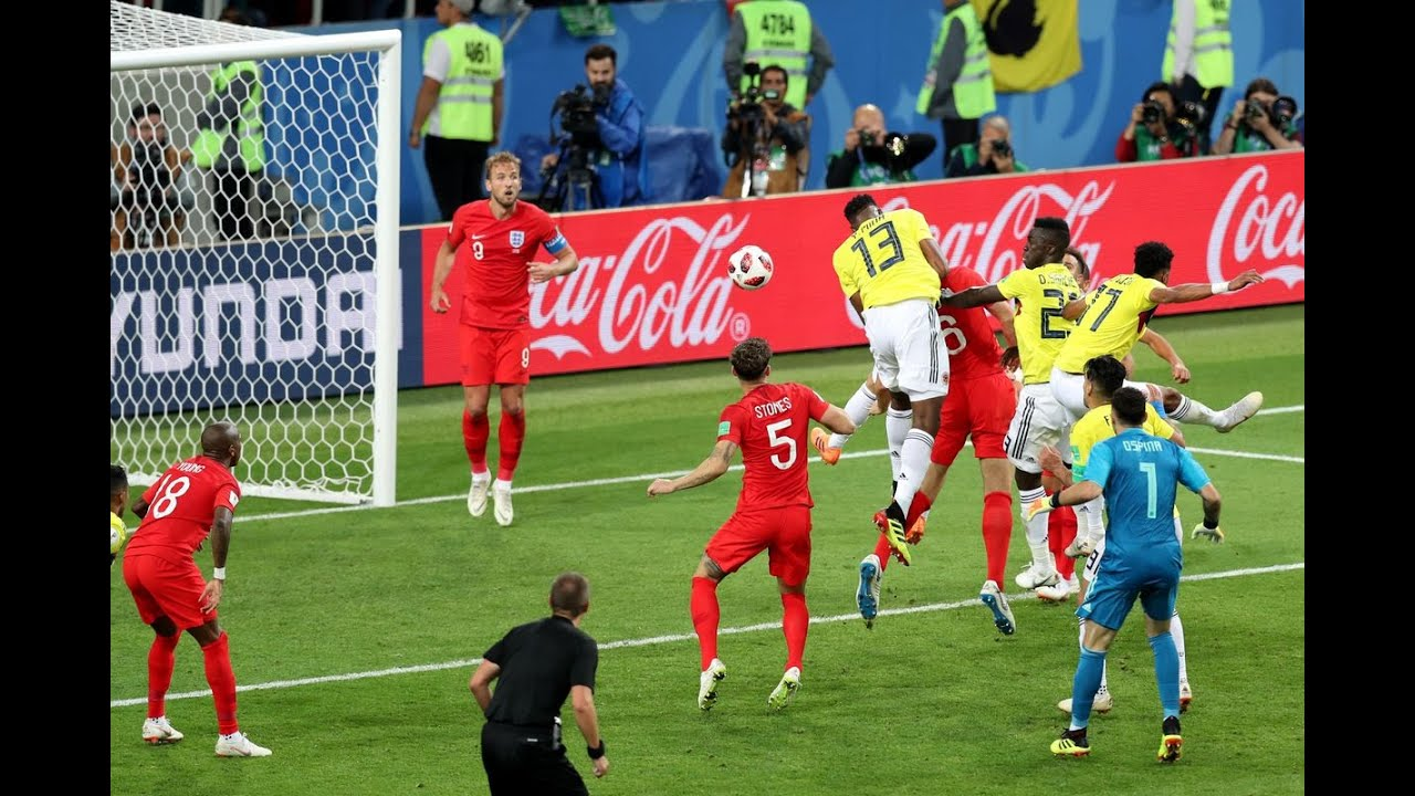 Yerry Mina goal for Colombia vs England in World Cup Russia 2018