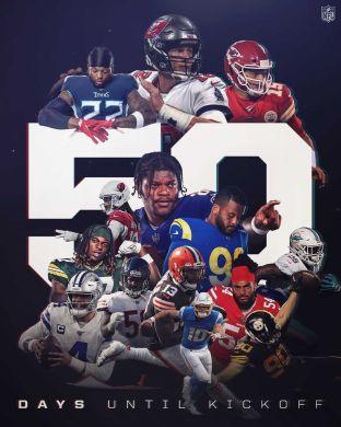 50 days until FOOTBALL   :  -- Thursday, Sept. 9 on NBC...