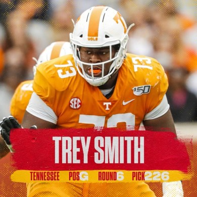 With the 226th pick in the 2021  we've selected Trey Smith!...