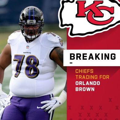 Ravens trading OL Orlando Brown to the Chiefs. (via  +   : Mark Zaleski...