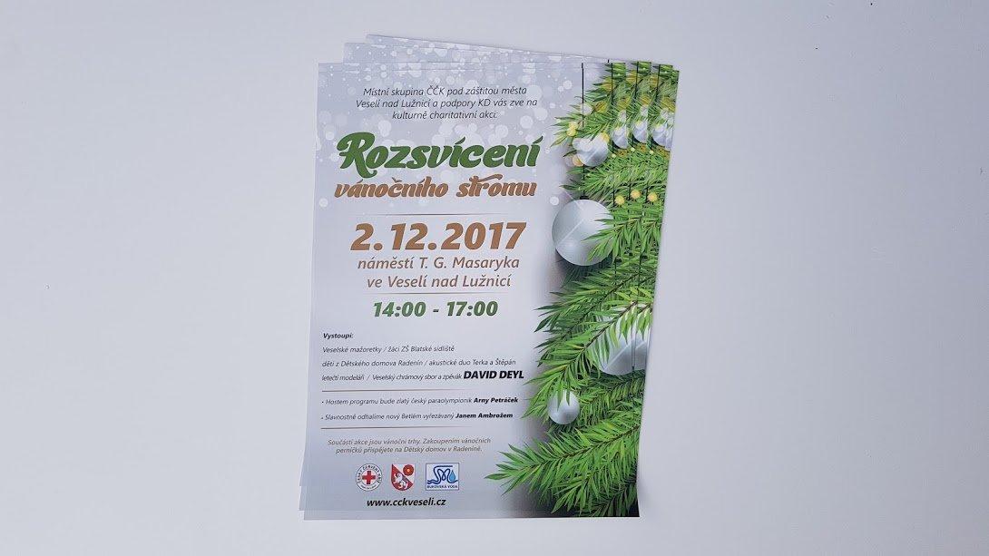 Plakát rozsvícení vánočního stromečku Veselí nad Lužnicí