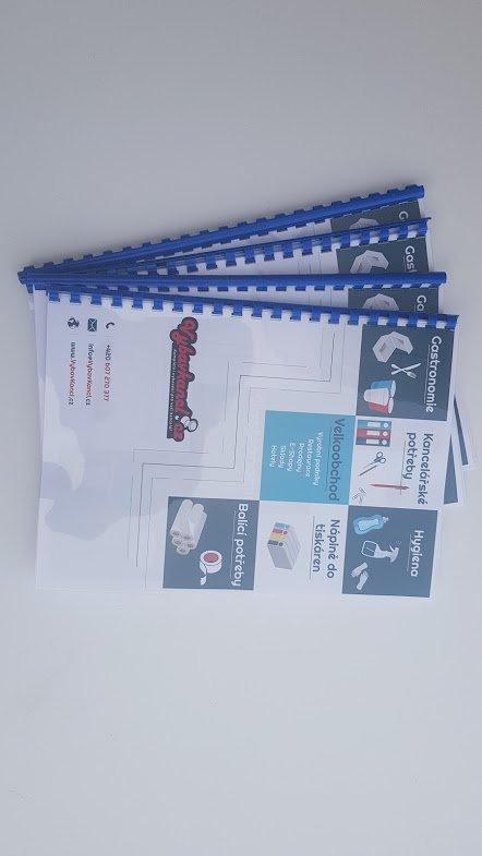 Katalog s plastovou kroužkovou vazbou