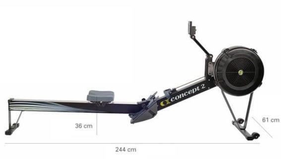 Machine à ramer concept 2 modèle D - dimensions
