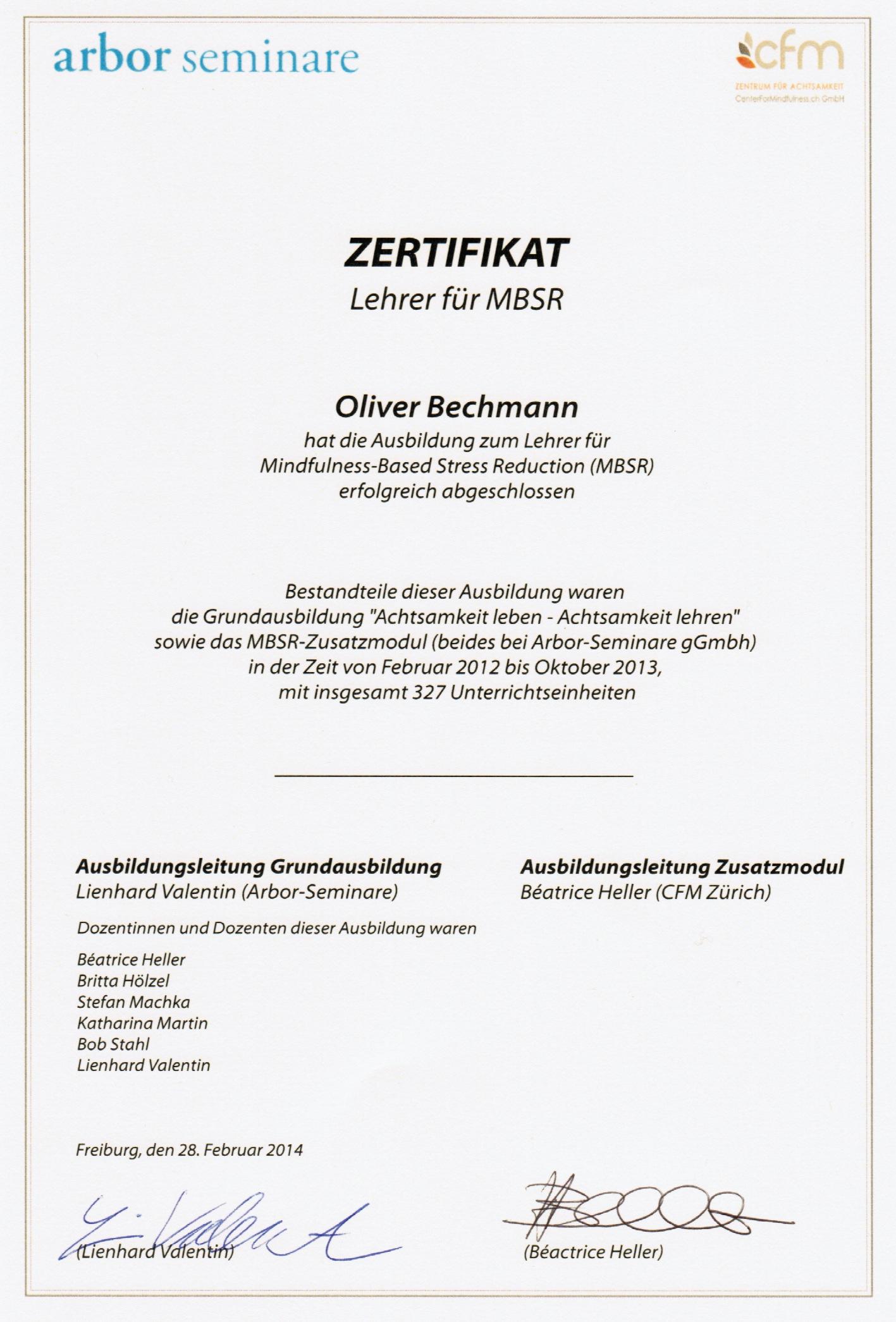 MBSR Zertifikat