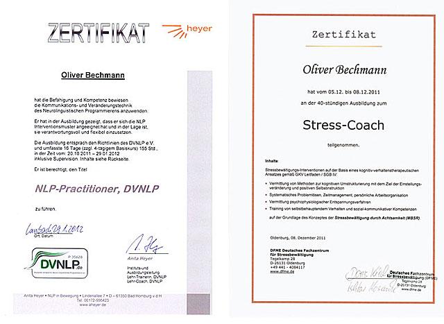 Stress-Coach- und NLP-Zertifikate