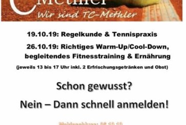 "TC Kamen-Methler:  Tennis-Workshop ""Rundum fit im Tennis"""