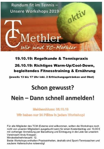 "TC Kamen-Methler:  Tennis-Workshop ""Rundum fit im Tennis"""