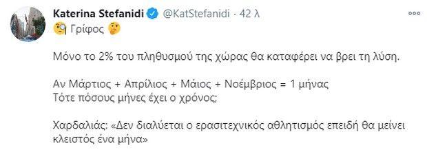 """Η Στεφανίδη """"απάντησε"""" μέσω Twitter στον Χαρδαλιά"""