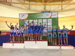 Le azzurre juniores sul podio dell'inseguimento a squadre ai Campionati Europei 2013