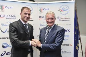 Il presidente Bonfiglio con Antonio Rossi, assessore regionale allo Sport