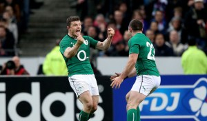 Brian O'Driscoll celebrates with Fergus McFadden at the final whistle 15/3/2014