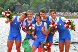 Mondiali canottaggio junior, Dario Favilli, Andrea Cattaneo, Andrea Maestrale, Ivan Capuano e Francesco Tassia (foto Perna)