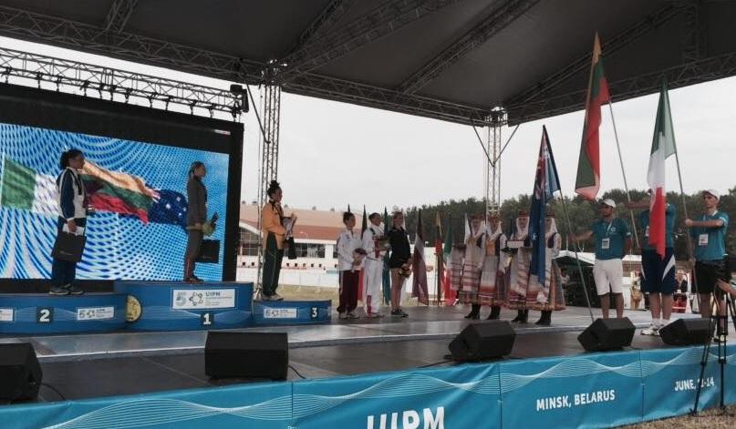 Gloria Tocchi sul podio della finale di Coppa del Mondo di Pentathlon 2015 a Minsk.
