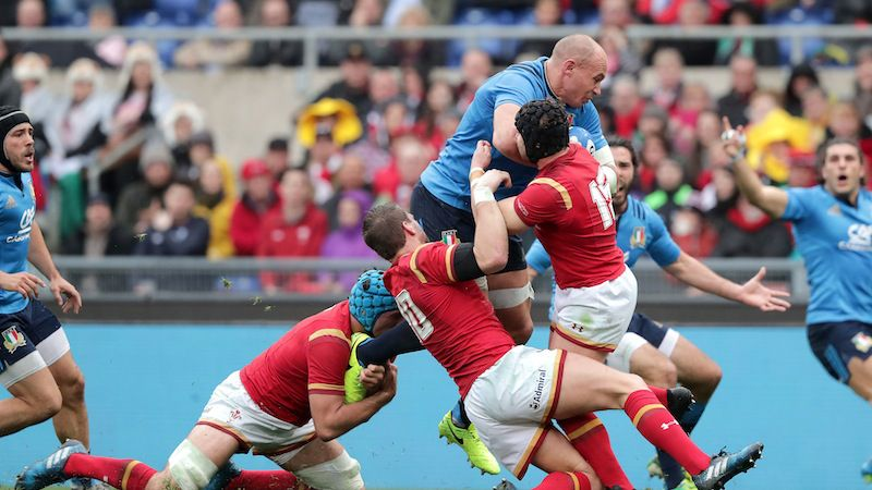 RBS 6 Nations Championship Round 1, Stadio Olimpico, Rome, Italy 5/2/2017 Italy vs Wales Wales' Leigh Halfpenny, Justin Tipuric and Dan Biggar try to stop Sergio Parisse of Italy Mandatory Credit ©INPHO/Morgan Treacy