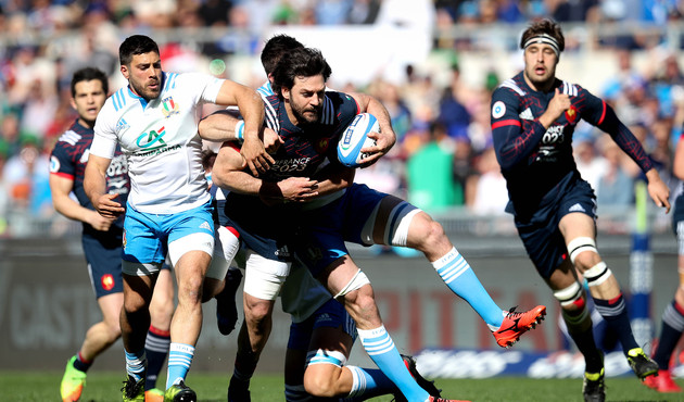 RBS 6 Nations Championship Round 4, Stadio Olimpico, Rome, Italy 11/3/2017 Italy vs France Italy's Edoardo Gori and Dries van Schalkwyk with Kevin Gourdon of France Mandatory Credit ©INPHO/Ryan Byrne