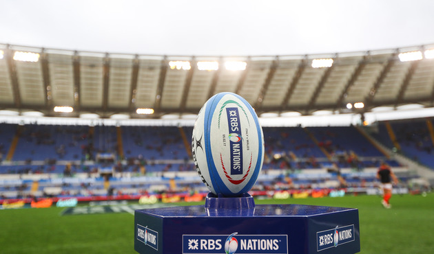 RBS 6 Nations Championship Round 1, Stadio Olimpico, Rome, Italy 5/2/2017 Italy vs Wales A view of the match ball Mandatory Credit ©INPHO/James Crombie