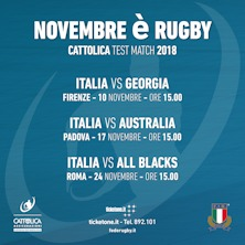 Al Franchi Italia vs Giorgia, primo Cattolica Test Match di autunno