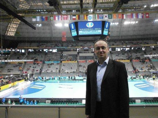 Handball-WM 2013 in Spanien: SPORT4Final - Redakteur Frank Zepp im Palau Sant Jordi in Barcelona am 27. Januar 2013 - Foto: SPORT4Final