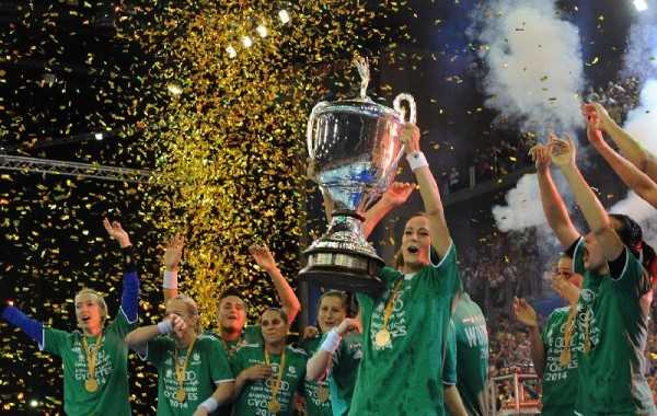 Handball EHF Champions League Women´s Final4 2014 May 4th Budapest/Hungary Final - Buducnost (MNE) vs. Gyori Audi ETO KC (HUN) - Winners with Trophy - Foto: EHF Media