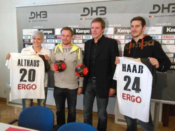 DHB: Pressegespräch am 14. Mai 2014 in Magdeburg - (v.l.) Anja Althaus, Heine Jensen, Martin Heuberger, Michael Haaß - Foto: SPORT4Final