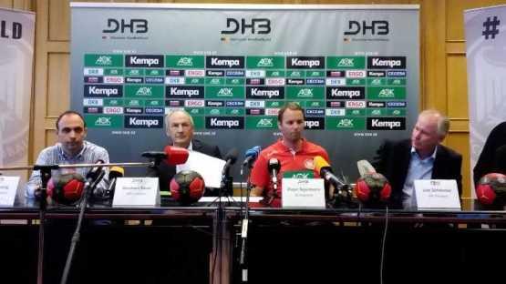 """DHB – Handball: Dagur Sigurdsson neuer Bundestrainer – """"Ehre, Respekt und Herausforderung für mich"""" - Bob Hanning, Bernhard Bauer, Dagur Sigurdsson, Uwe Schwenker (v.l.) - Foto: SPORT4Final"""