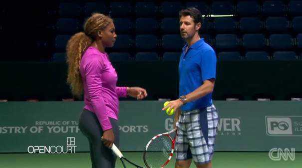 """CNN """"Open Court"""" mit Pat Cash aus Monte Carlo und """"schlauen Schlägern"""" - Serena Williams und ihr Coach Patrick Mouratoglou - Foto: CNN International """"Open Court"""""""