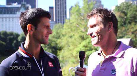 "Novak Djokovic (l) mit Pat Cash - Quelle: CNN International ""Open Court"""