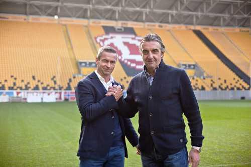 Ralf Minge (Sportgeschäftsführer SGD) und Mario Kallnik (Sport- und Finanzvorstand 1. FCM) - Foto: Steffen Kuttner/ Dynamo Dresden