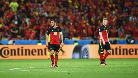 Belgiens Kapitän Eden Hazard und Kevin de Bruyne - Fussball EM 2016: Aktion während der UEFA EURO 2016 Gruppe E Spiel zwischen Belgien und Italien am 13. Juni 2016 in Lyon, Frankreich. Foto: Claudio Villa / Getty Images