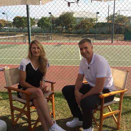 "Steffi Graf und Dan Riddell - Foto: CNN International ""Open Court"""